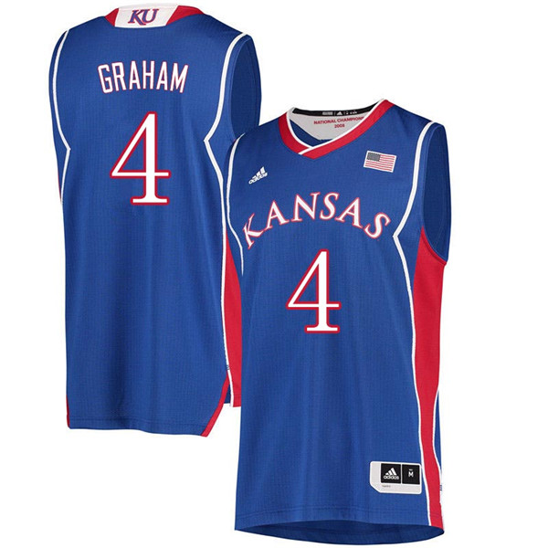 Men #4 Devonte Graham Kansas Jayhawks 2018 Hardwood Classic College Basketball Jerseys Sale-Royal