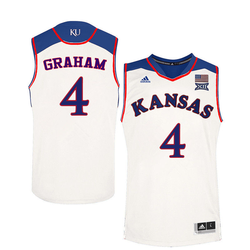Men Kansas Jayhawks #4 Devonte Graham College Basketball Jerseys-White