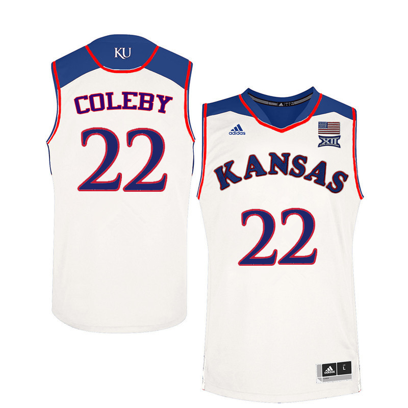 Men Kansas Jayhawks #22 Dwight Coleby College Basketball Jerseys Sale-White