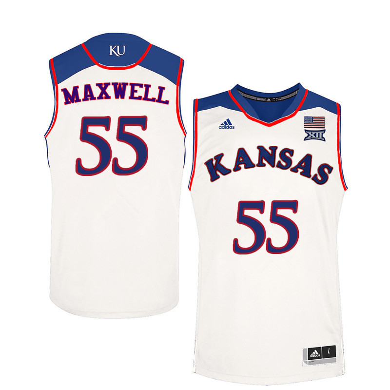 Men Kansas Jayhawks #55 Evan Maxwell College Basketball Jerseys Sale-White