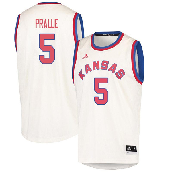 Men #5 Fred Pralle Kansas Jayhawks 2018 Hardwood Classic College Basketball Jerseys Sale-Cream