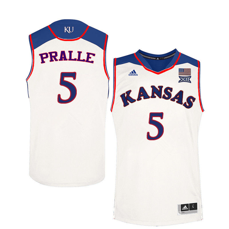 Men Kansas Jayhawks #5 Fred Pralle College Basketball Jerseys-White