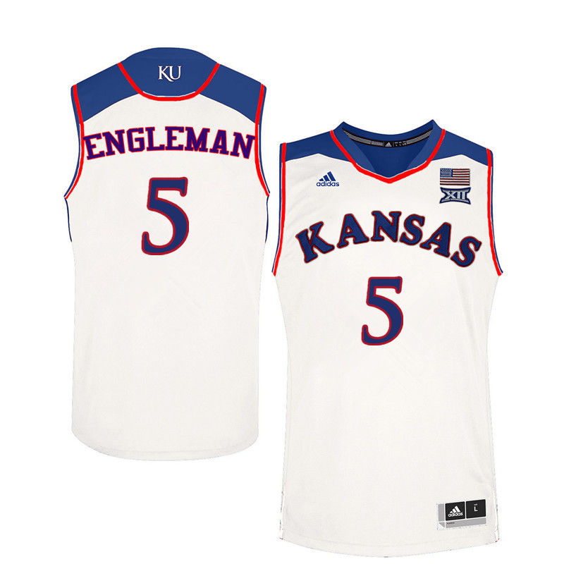 Men Kansas Jayhawks #5 Howard Engleman College Basketball Jerseys-White