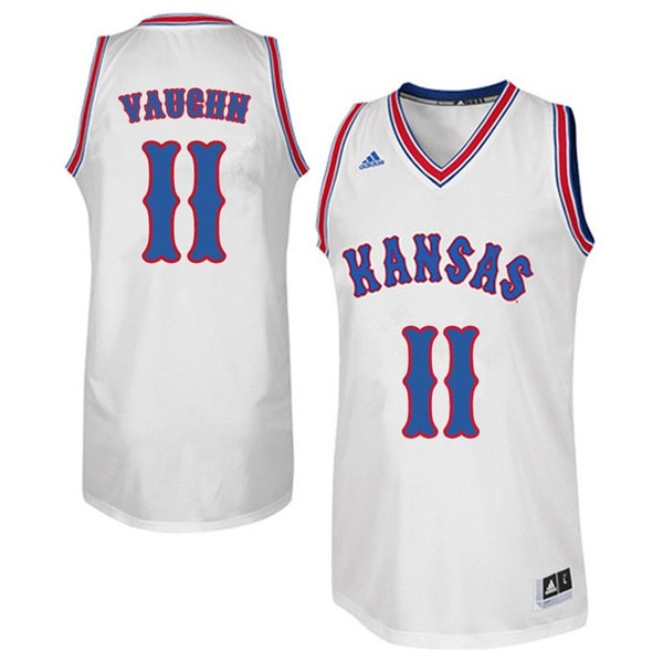 Men #11 Jacque Vaughn Kansas Jayhawks Retro Throwback College Basketball Jerseys Sale-White