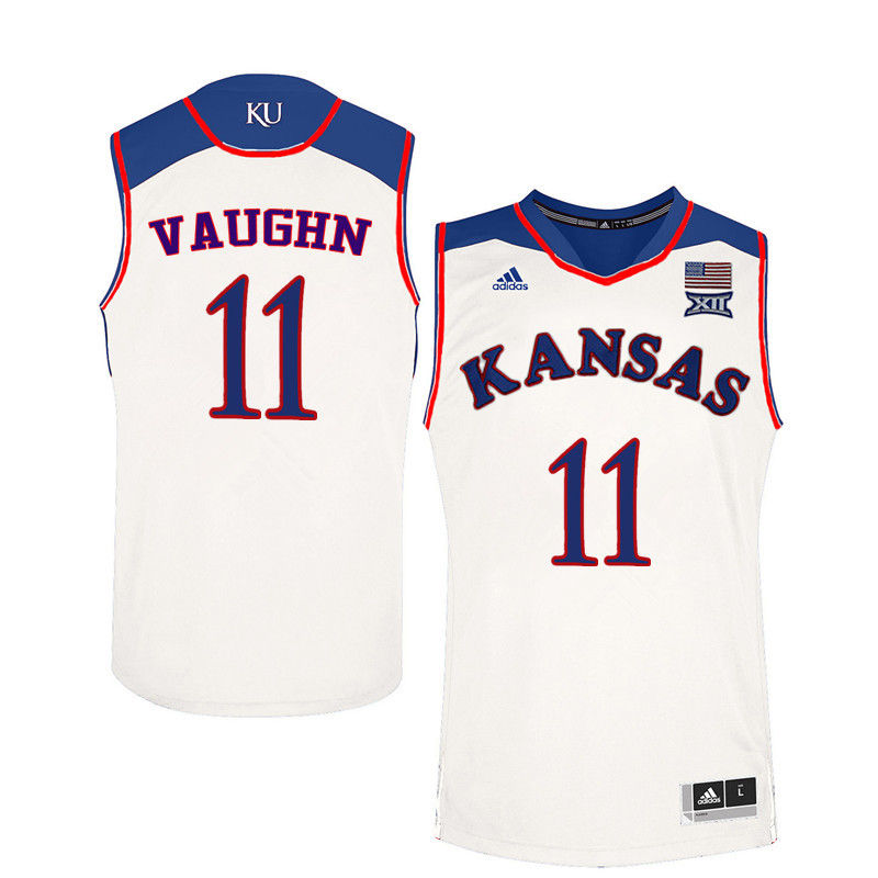 Men Kansas Jayhawks #11 Jacque Vaughn College Basketball Jerseys-White