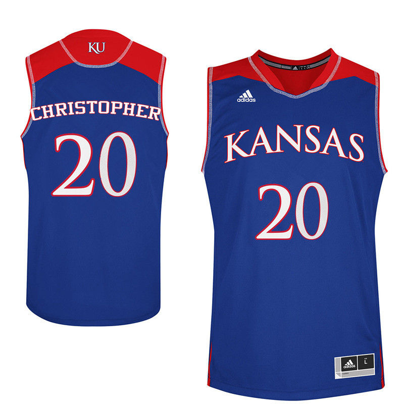 Men Kansas Jayhawks #20 Jayde Christopher College Basketball Jerseys-Royals