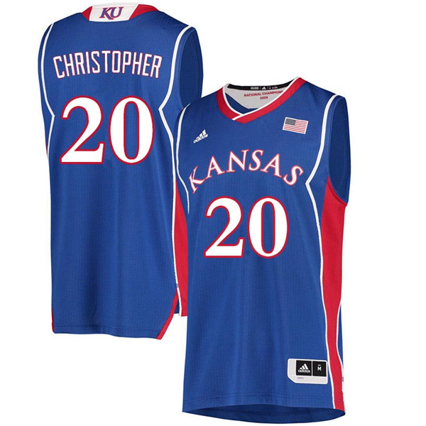 Men #20 Jayde Christopher Kansas Jayhawks 2018 Hardwood Classic College Basketball Jerseys Sale-Roya