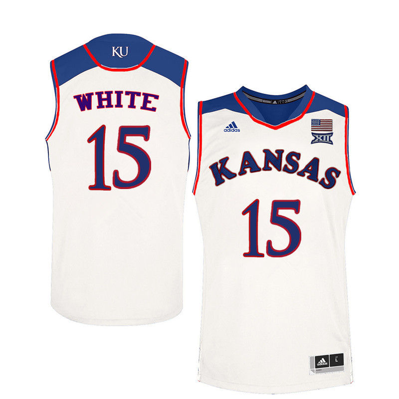 Men Kansas Jayhawks #15 Jo Jo White College Basketball Jerseys-White