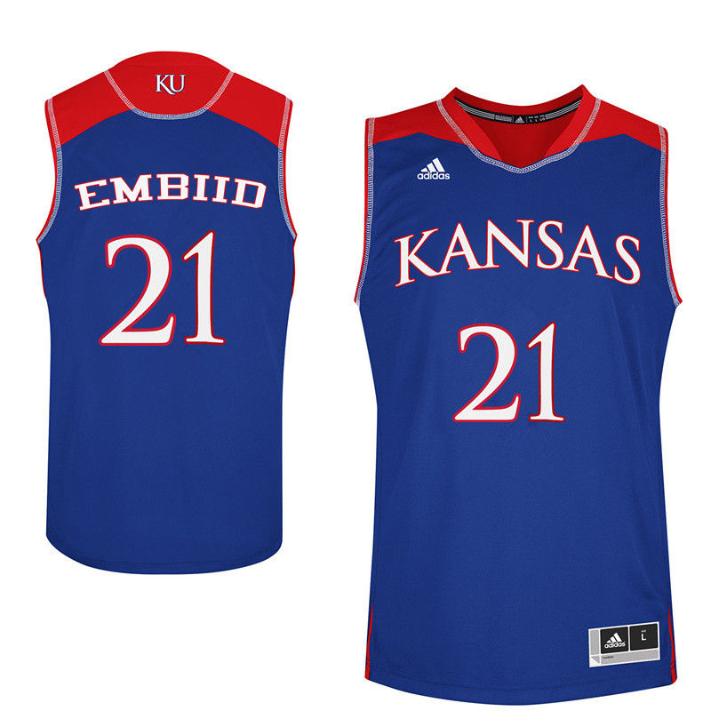 Men Kansas Jayhawks #21 Joel Embiid College Basketball Jerseys-Royals