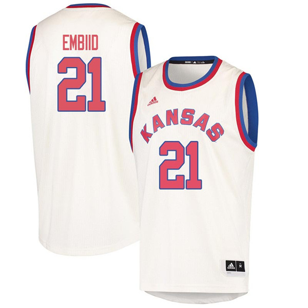 Men #21 Joel Embiid Kansas Jayhawks 2018 Hardwood Classic College Basketball Jerseys Sale-Cream