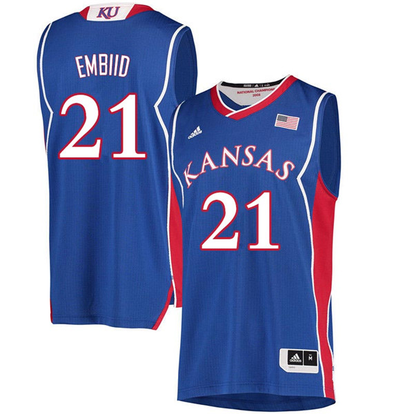 Men #21 Joel Embiid Kansas Jayhawks 2018 Hardwood Classic College Basketball Jerseys Sale-Royal