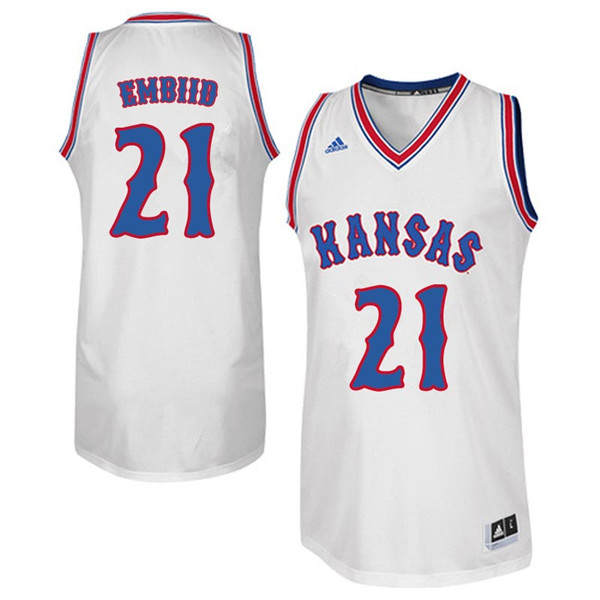 Men #21 Joel Embiid Kansas Jayhawks Retro Throwback College Basketball Jerseys Sale-White