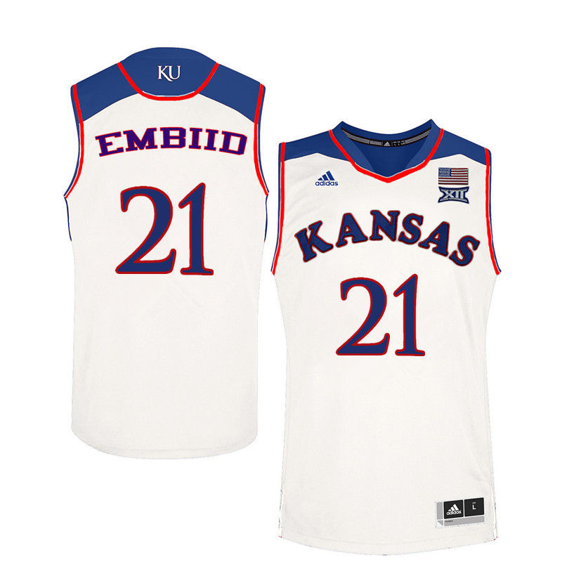Men Kansas Jayhawks #21 Joel Embiid College Basketball Jerseys-White
