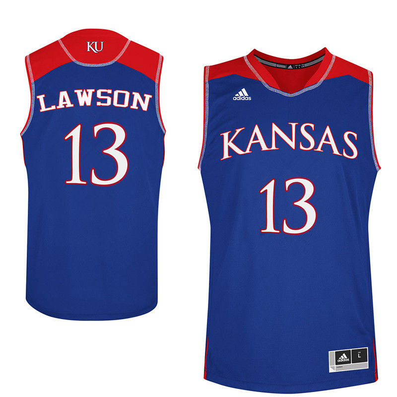 Men Kansas Jayhawks #13 K.J. Lawson College Basketball Jerseys-Royals