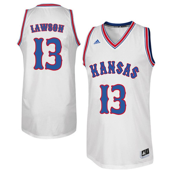 Men #13 K.J. Lawson Kansas Jayhawks Retro Throwback College Basketball Jerseys Sale-White