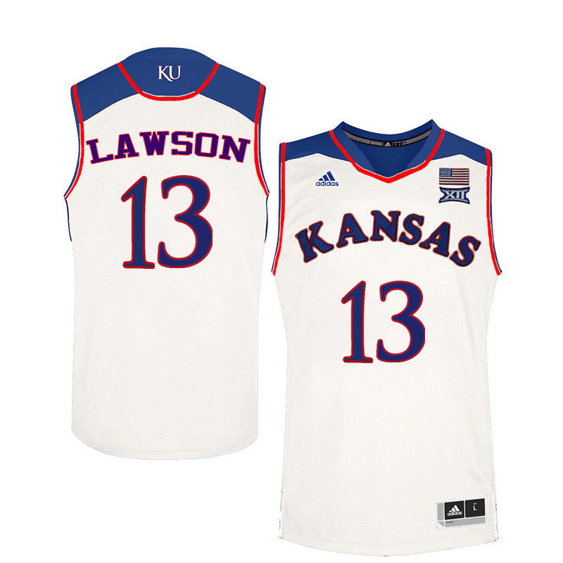 Men Kansas Jayhawks #13 K.J. Lawson College Basketball Jerseys-White
