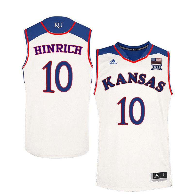 Men Kansas Jayhawks #10 Kirk Hinrich College Basketball Jerseys-White
