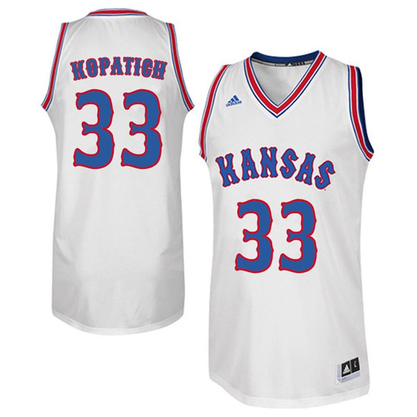 Men #33 Kylee Kopatich Kansas Jayhawks Retro Throwback College Basketball Jerseys Sale-White