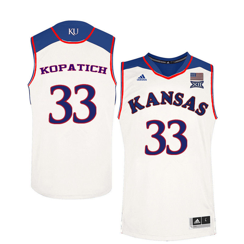 Men Kansas Jayhawks #33 Kylee Kopatich College Basketball Jerseys-White