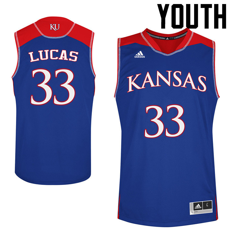 Youth Kansas Jayhawks #33 Landen Lucas College Basketball Jerseys Sale-Blue