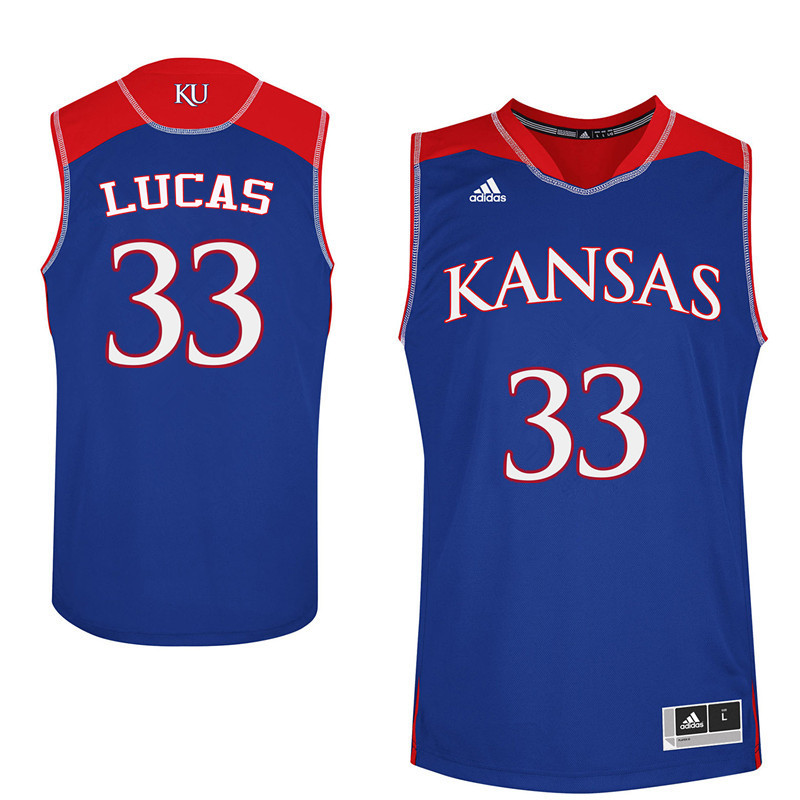 Men Kansas Jayhawks #33 Landen Lucas College Basketball Jerseys Sale-Blue