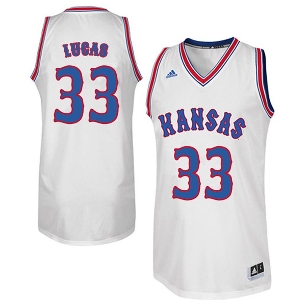 Men #33 Landen Lucas Kansas Jayhawks Retro Throwback College Basketball Jerseys Sale-White