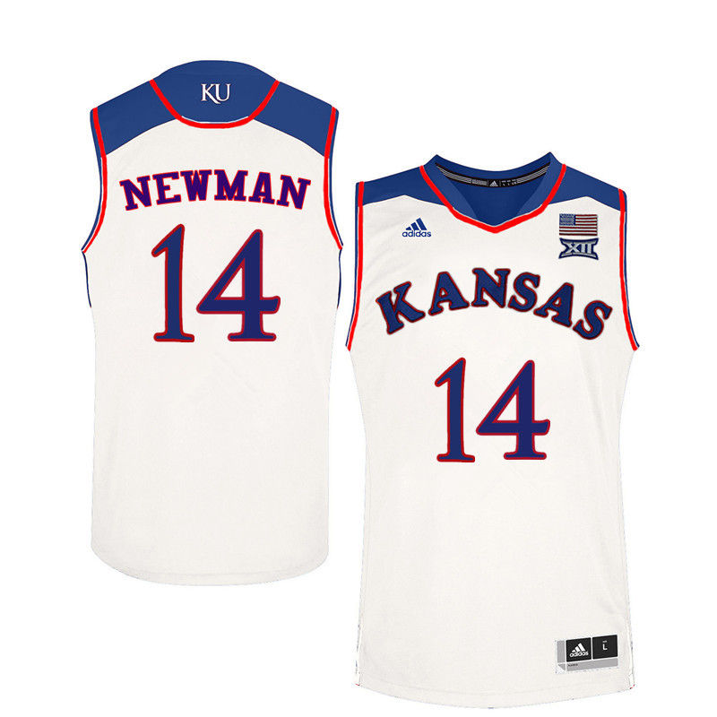Men Kansas Jayhawks #14 Malik Newman College Basketball Jerseys-White