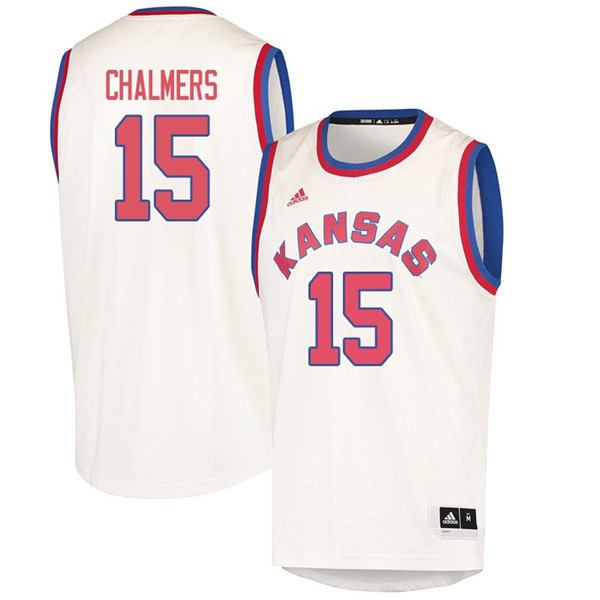Men #15 Mario Chalmers Kansas Jayhawks 2018 Hardwood Classic College Basketball Jerseys Sale-Cream