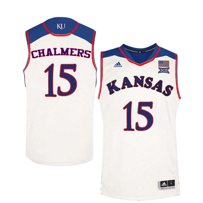 Men Kansas Jayhawks #15 Mario Chalmers College Basketball Jerseys-White