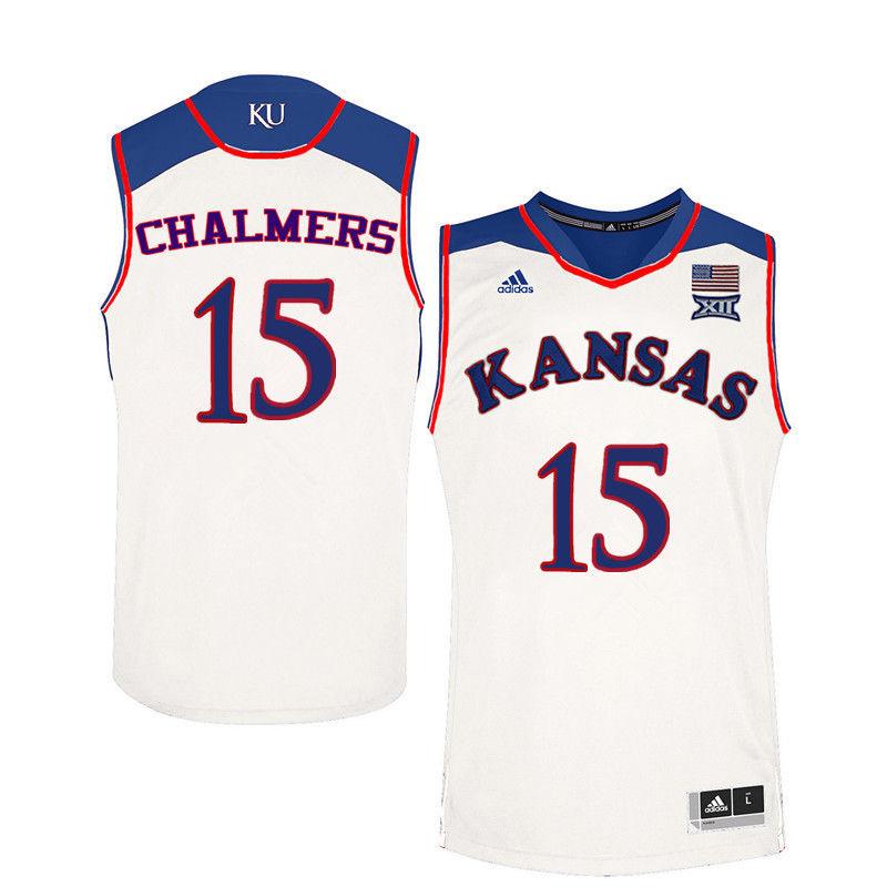 ... Jersey Men Kansas Jayhawks 15 Mario Chalmers College Basketball Jerseys- White ... 029da04a5