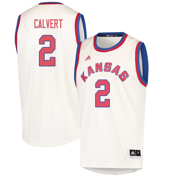 Men #2 McKenzie Calvert Kansas Jayhawks 2018 Hardwood Classic College Basketball Jerseys Sale-Cream