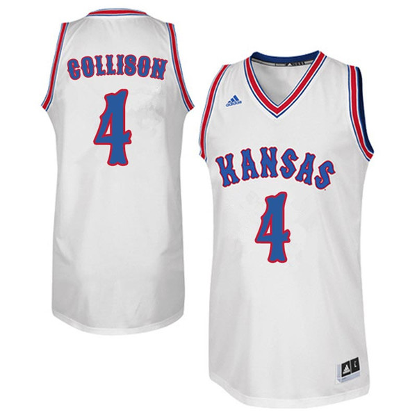 Men #4 Nick Collison Kansas Jayhawks Retro Throwback College Basketball Jerseys Sale-White