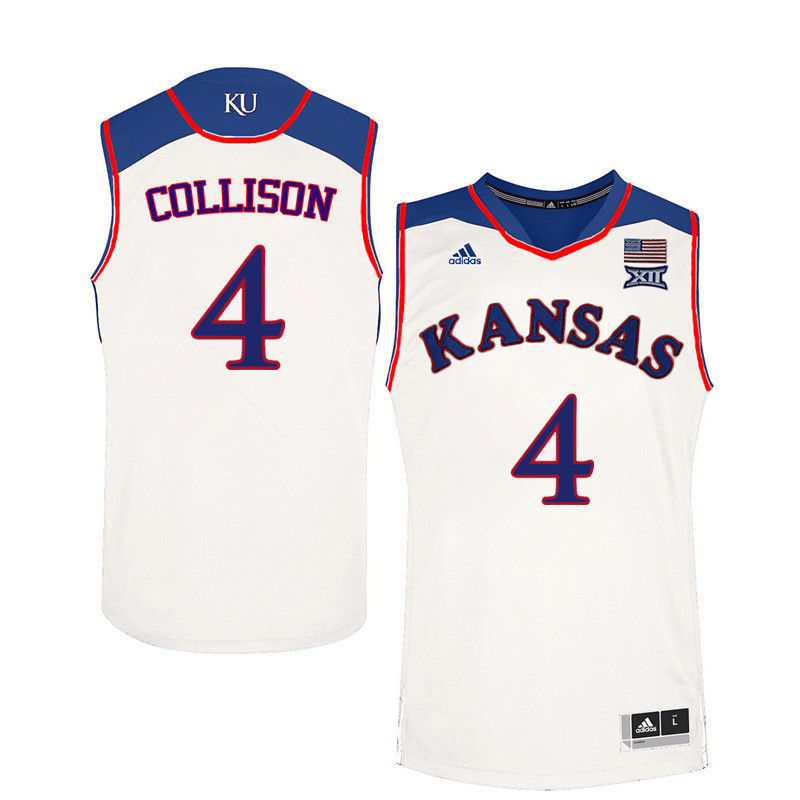 Men Kansas Jayhawks #4 Nick Collison College Basketball Jerseys-White