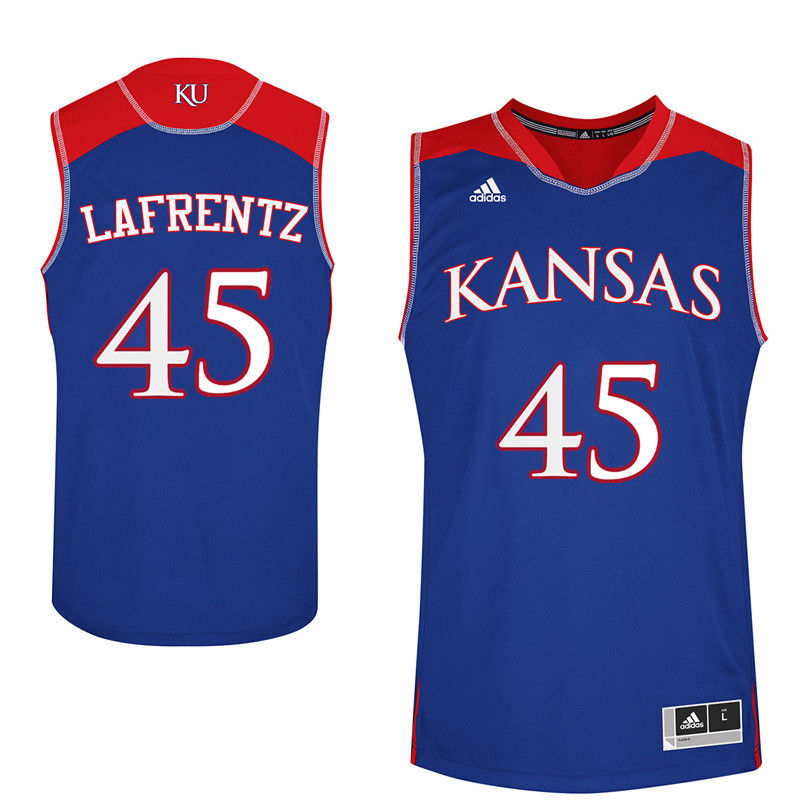 Men Kansas Jayhawks #45 Raef LaFrentz College Basketball Jerseys-Royals