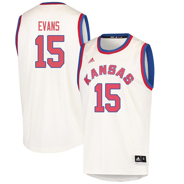Men #15 Ray Evans Kansas Jayhawks 2018 Hardwood Classic College Basketball Jerseys Sale-Cream