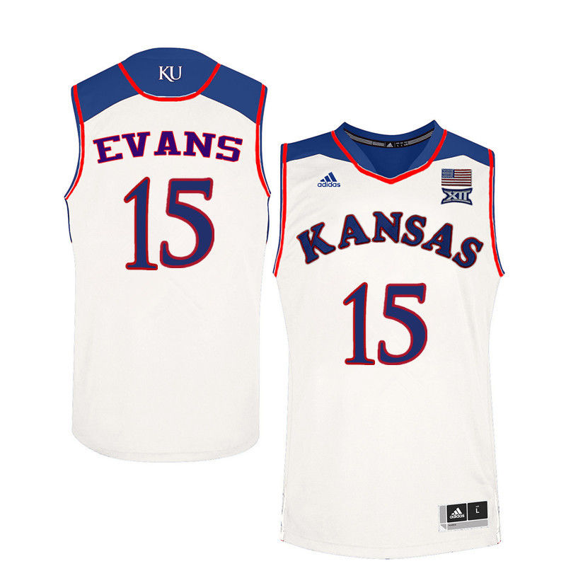 Men Kansas Jayhawks #15 Ray Evans College Basketball Jerseys-White