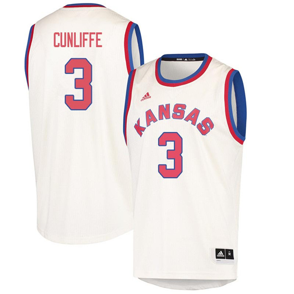 Men #3 Sam Cunliffe Kansas Jayhawks 2018 Hardwood Classic College Basketball Jerseys Sale-Cream