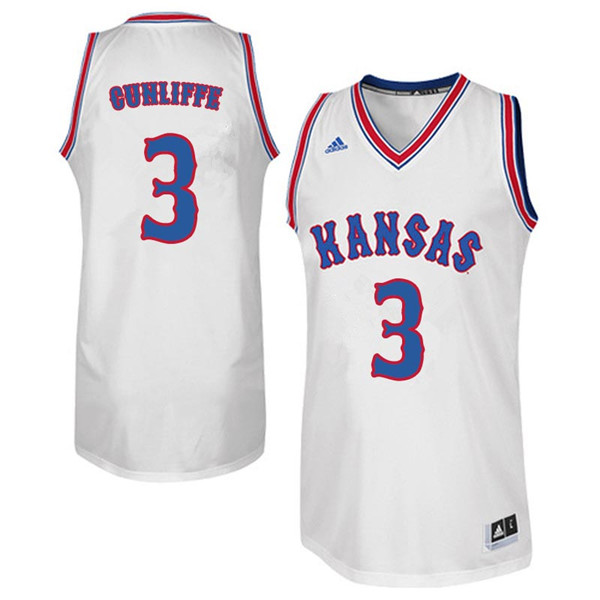 Men #3 Sam Cunliffe Kansas Jayhawks Retro Throwback College Basketball Jerseys Sale-White