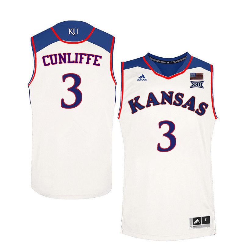 Men Kansas Jayhawks #3 Sam Cunliffe College Basketball Jerseys-White