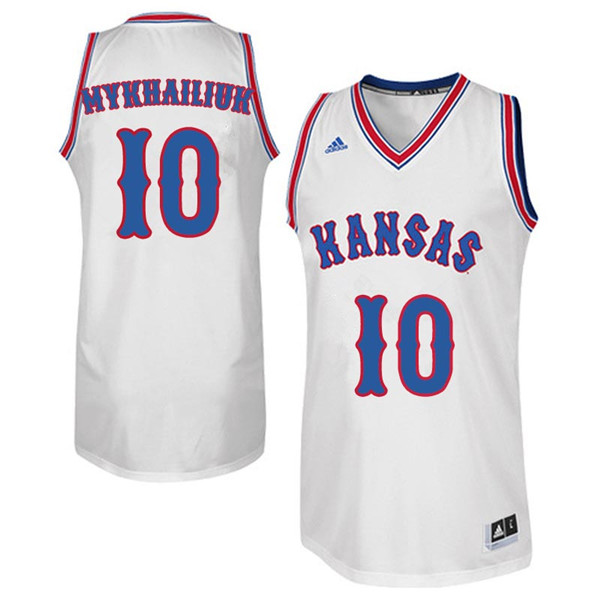 Men #10 Sviatoslav Mykhailiuk Kansas Jayhawks College Basketball Jerseys Sale-White