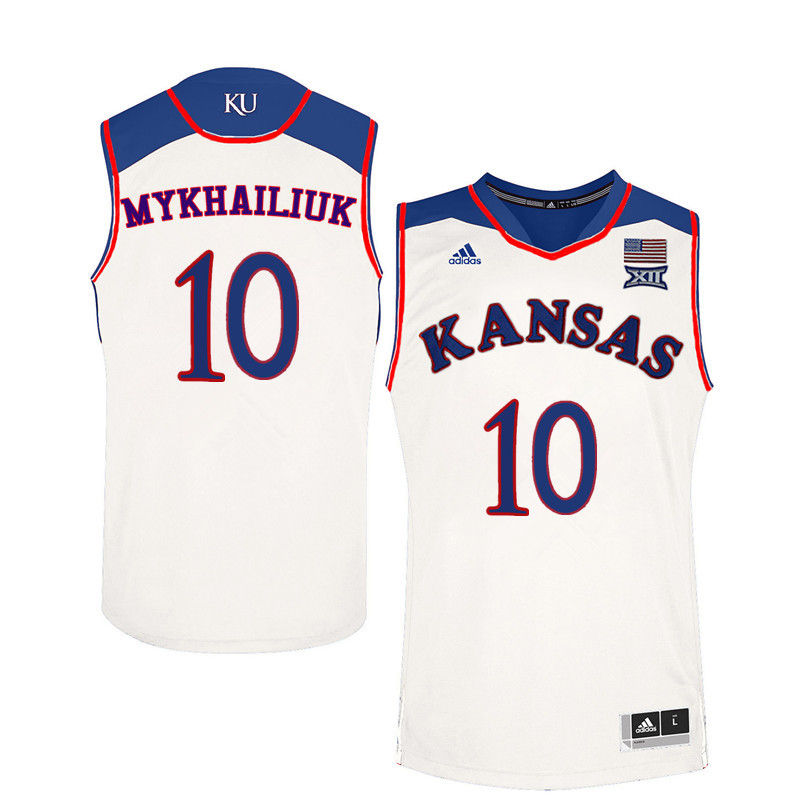 Men Kansas Jayhawks #10 Sviatoslav Mykhailiuk College Basketball Jerseys-White