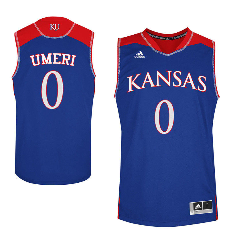Men Kansas Jayhawks #0 Sydney Umeri College Basketball Jerseys-Royals