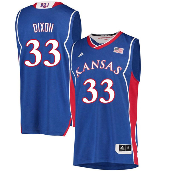 Men #33 Tamecka Dixon Kansas Jayhawks 2018 Hardwood Classic College Basketball Jerseys Sale-Royal