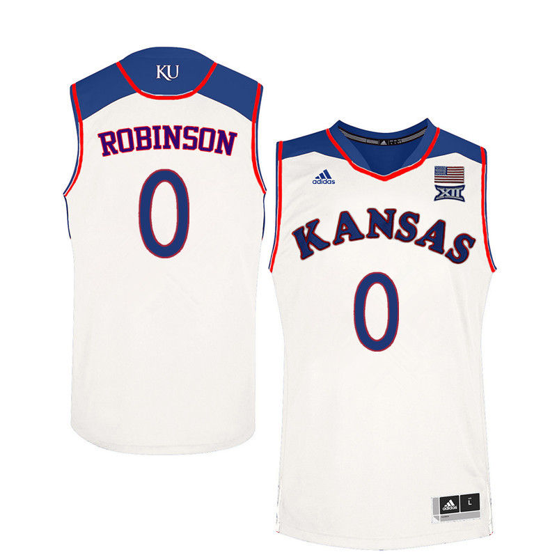 Men Kansas Jayhawks #0 Thomas Robinson College Basketball Jerseys-White