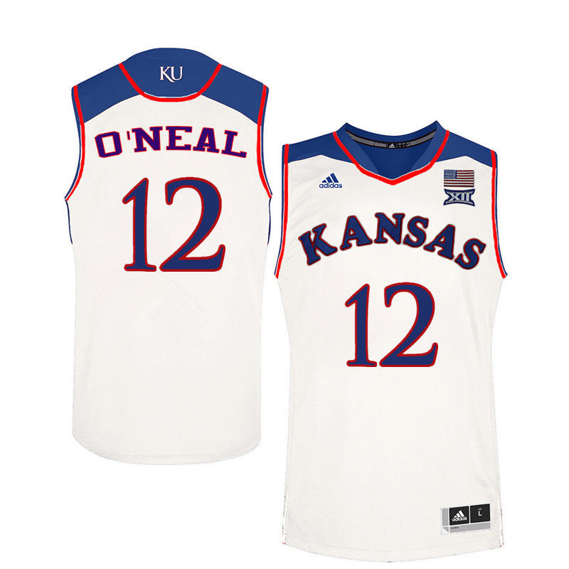 Men Kansas Jayhawks #12 Timeka ONeal College Basketball Jerseys-White