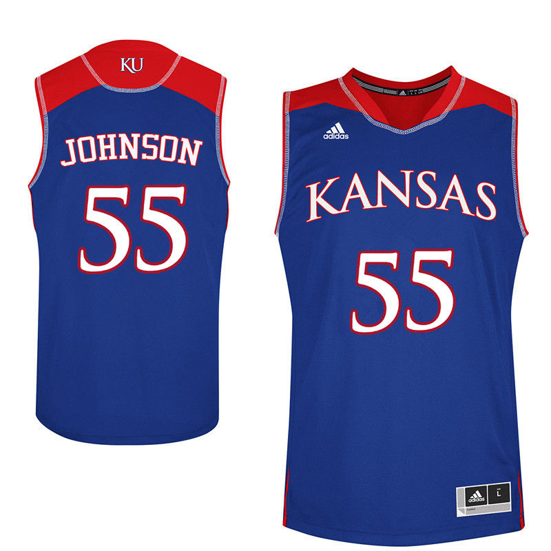 Men Kansas Jayhawks #55 Tyler Johnson College Basketball Jerseys-Royals