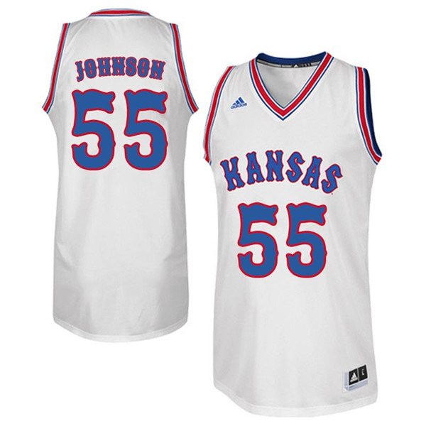 Men #55 Tyler Johnson Kansas Jayhawks Retro Throwback College Basketball Jerseys Sale-White