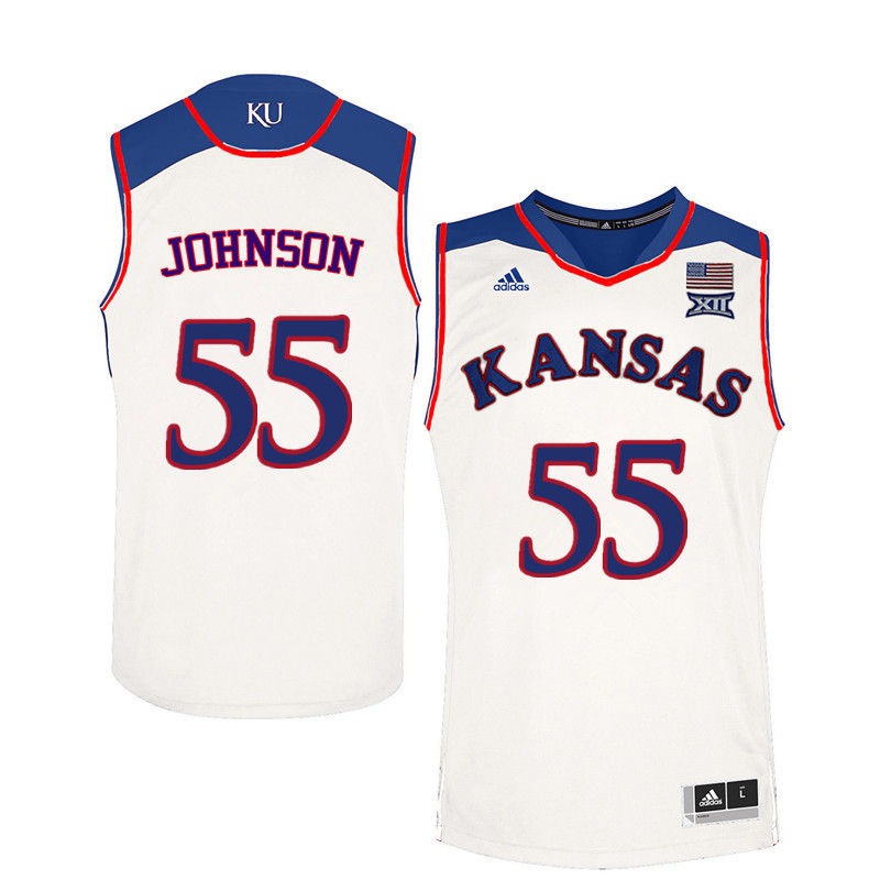 Men Kansas Jayhawks #55 Tyler Johnson College Basketball Jerseys-White