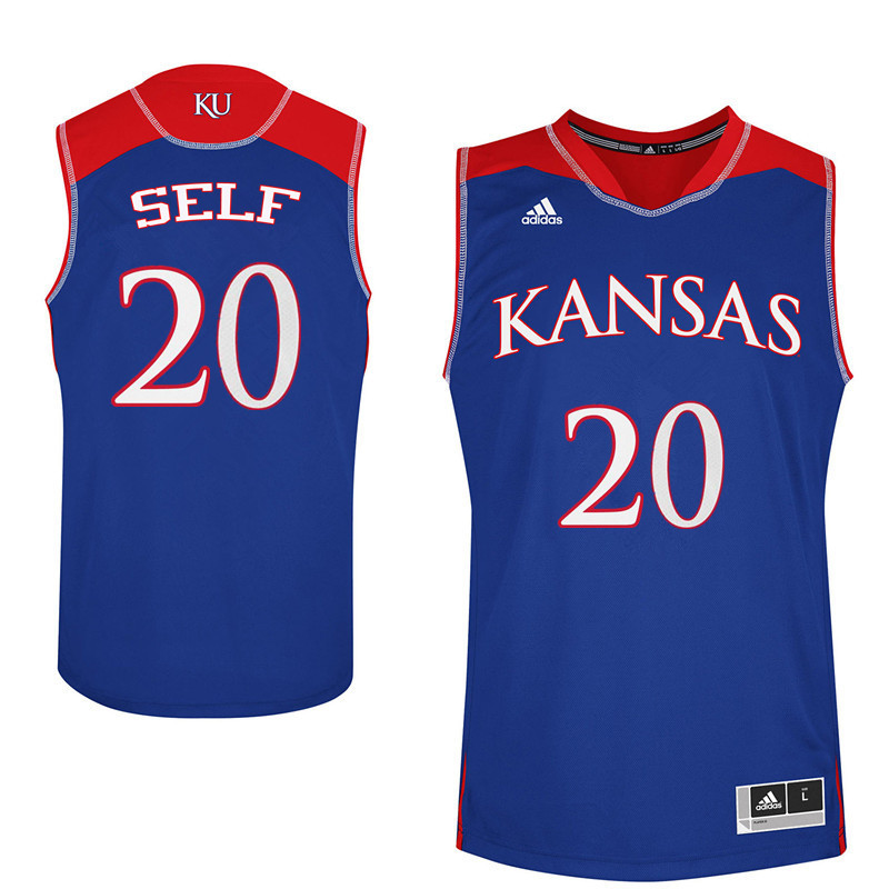 Men Kansas Jayhawks #20 Tyler Self College Basketball Jerseys Sale-Blue