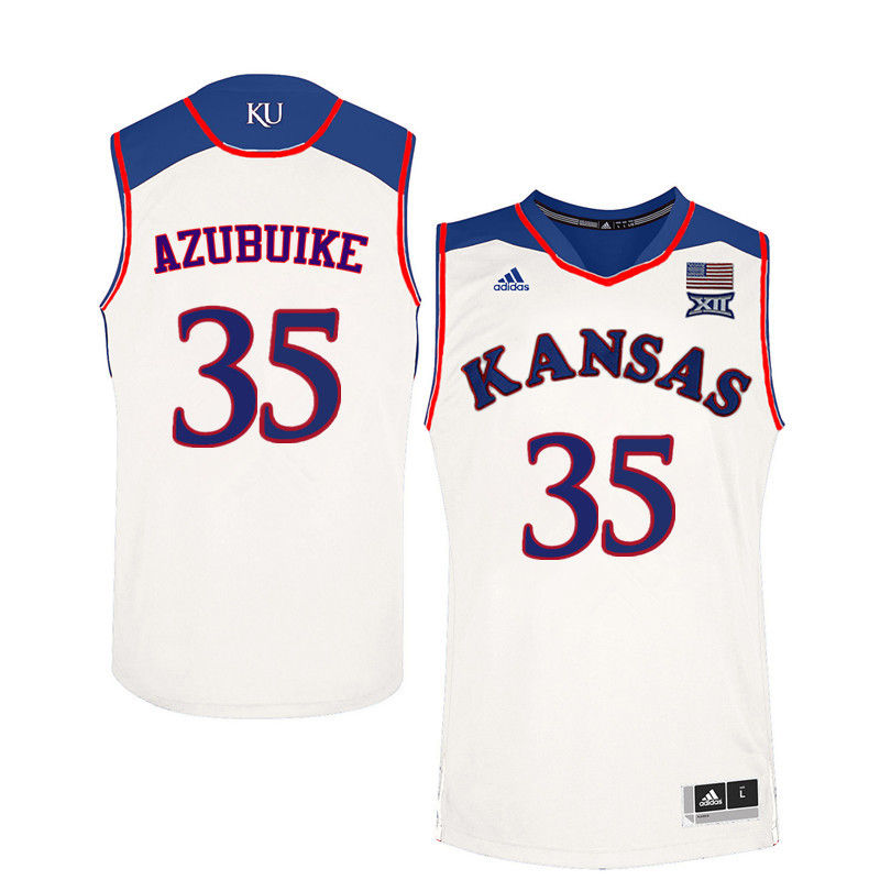 Men Kansas Jayhawks #35 Udoka Azubuike College Basketball Jerseys-White